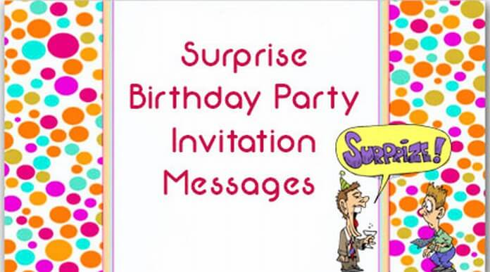 Surprise birthday party invitation messages filmwisefo Image collections