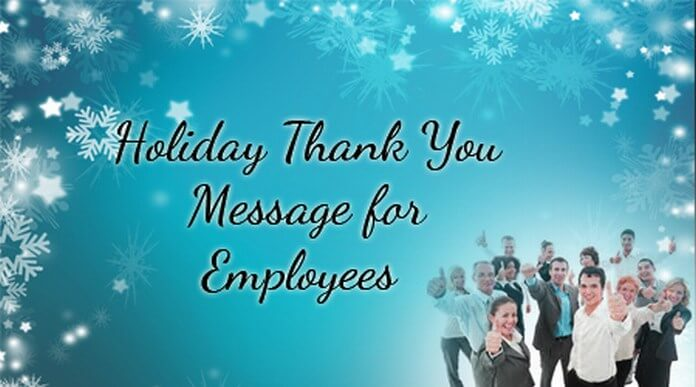 Holiday Thank You Message for Employees