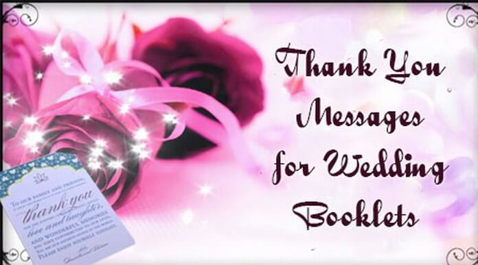 Thank You Messages for Wedding Booklets