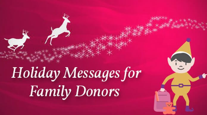 Holiday messages for family donors
