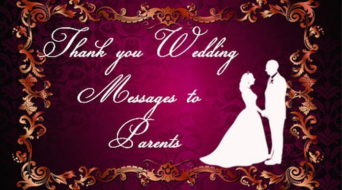 Thank you Wedding Messages to Parents