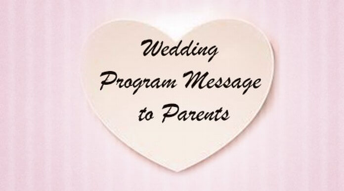 Wedding Program Message to Parents