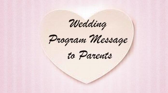 Wedding Program Message to Parents