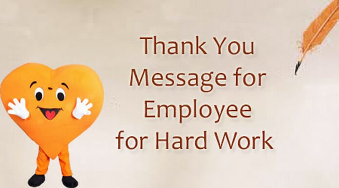 thank you message for employee for hard work