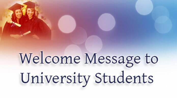 Welcome Message to University Students