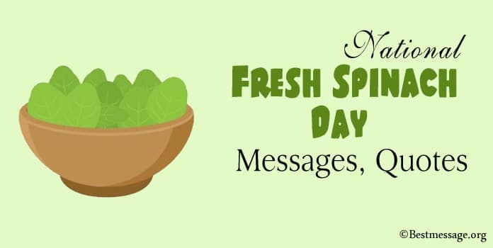 National Fresh Spinach Day Messages, Quotes