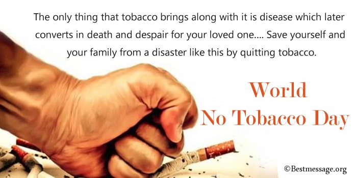 World No Tobacco Day Messages, Anti Tobacco Messages Image