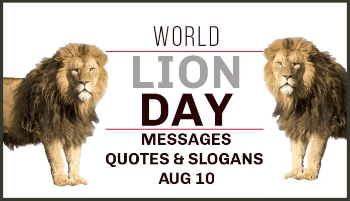 Lion Day Greetings Messages, Lion Quotes, Lion Slogans