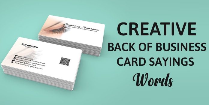 Back of Business Card Sayings, Business Card Words, Quotes