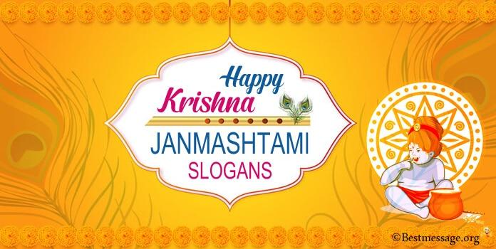 Happy Krishna Janmashtami Slogan in English, Hindi